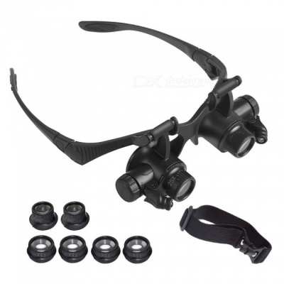 YWXLight Magnifying Glasses With LED Headlamp, Interchangable Headband, 10X 15X 20X 25X Lenses