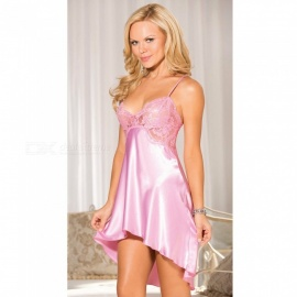 Sexy Deep V Lace Stitching Nightdress Slip Dress Sexy Lingeries - Pink