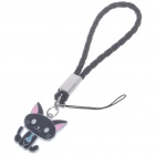 Cute Cat Cell Phone Strap - Black