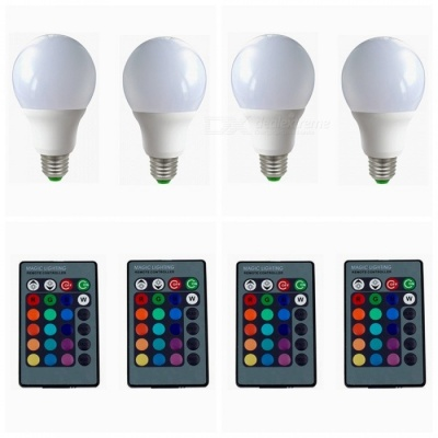 ZHAOYAO 4Pcs Dimmable E27 4W AC 85-265V LED Light Bulbs RGB 16 Colors with Remote Controller