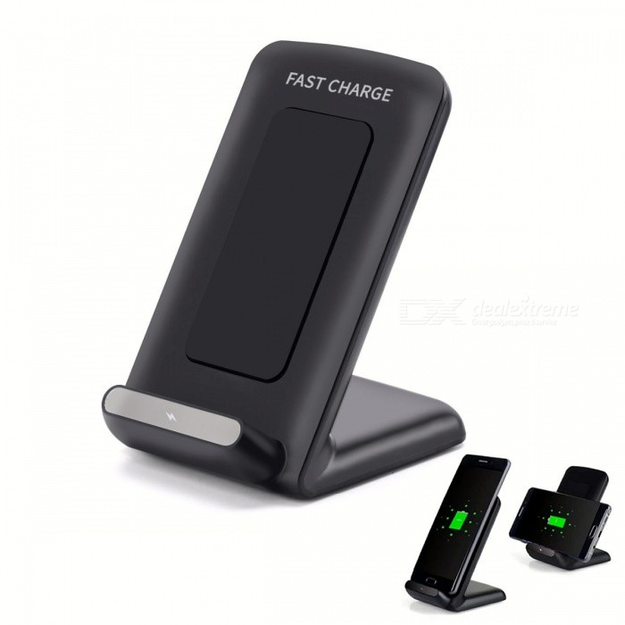 Cwxuan 10W Fast Wireless Charger Stand, Qi Charging Pad for Samsung / IPHONE 8 / IPHONE X - BlackWireless Chargers<br>Color Black Quantity1 pieceMaterialABSExecutive StandardQiShade Of ColorBlackTypeChargerCompatible ModelsQi DevicesTransmition Distance3-10mmCharging Efficiency80%Input9V/1.67-1.8A, 5V/2AOutput interface, output current, output voltage5W 5V/1A / 10W 9V/1.2-1.4ALED IndicatorYesPacking List1 x Wireless Charger1 x USB Cable<br>