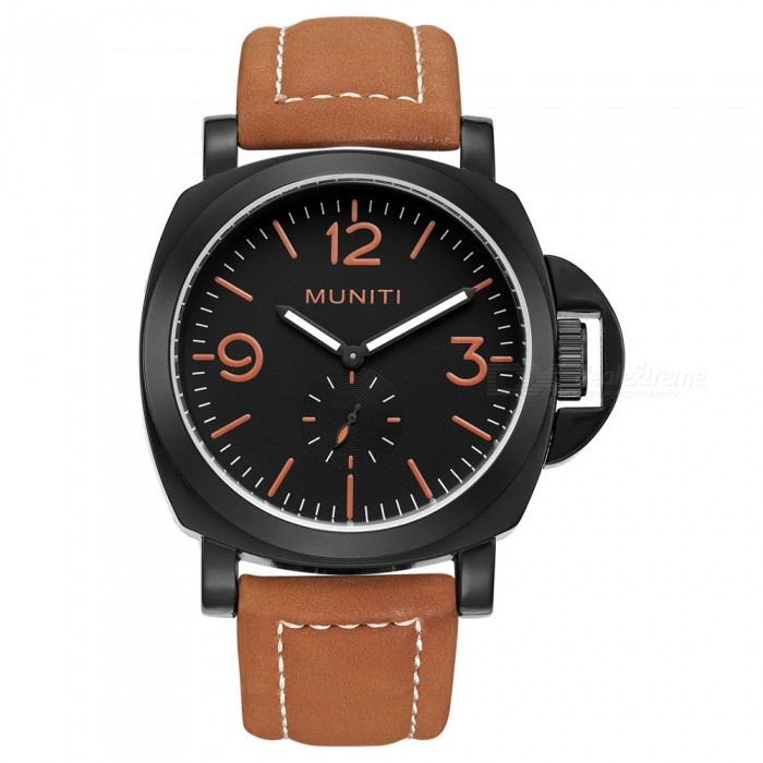 MUNITI 30m Waterproof Sports Mens Quartz Watch with Big Dial, PU Leather Band - Brown + BlackQuartz Watches<br>ColorBrown + BlackModelMT1008Quantity1 pieceShade Of ColorBrownCasing MaterialStainless steelWristband MaterialLeatherSuitable forAdultsGenderMenStyleWrist WatchTypeSports watchesDisplayAnalogBacklightNOMovementQuartzDisplay Format12 hour formatWater ResistantWater Resistant 3 ATM or 30 m. Suitable for everyday use. Splash/rain resistant. Not suitable for showering, bathing, swimming, snorkelling, water related work and fishing.Dial Diameter4.6 cmDial Thickness1.3 cmWristband Length24.5 cmBand Width2.2 cmBattery1pcs *  LR626Packing List1 x Watch<br>