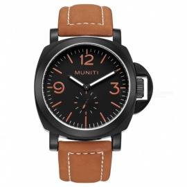 MUNITI 30m Waterproof Sports Men's Quartz Watch with Big Dial, PU Leather Band - Brown + Black