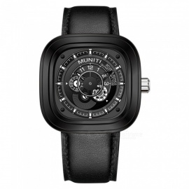 MUNITI racing elements 30m montre à quartz pour homme imperméable à l'eau avec grand cadran en cuir, montre business / casual / sport - noir