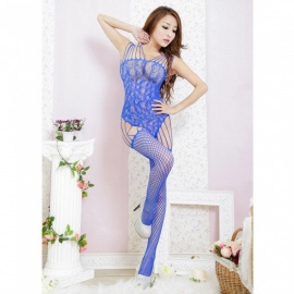 Fanshimite Transparent One-piece Net Stockings, Tight-Fitting Sexy Lingerie for Women - Blue
