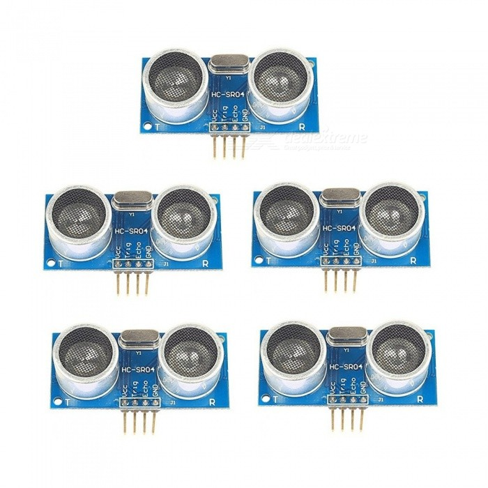 ZHAOYAO HC-SR04 5PCS Ultrasonic Ranging Sensor Modules - Black + SilverDIY Parts &amp; Components<br>ColorBlue + SilverQuantity1 setMaterialElectronic componentEnglish Manual / SpecNoCertification-Packing List5 x Modules<br>