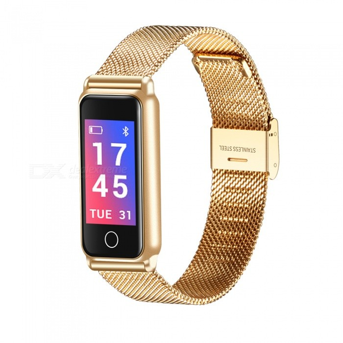 Y8 Full Metal Color Screen Bluetooth Waterproof Smart Bracelet with Heart Rate, Blood Pressure Monitoring, Pedometer - GoldSmart Bracelets<br>ColorGoldModelY8Quantity1 piecesMaterialalloyWater-proofIP67Bluetooth VersionBluetooth V4.0Touch Screen TypeIPSOperating SystemAndroid 4.4,iOSCompatible OSAndroid IOSBattery Capacity85 mAhBattery TypeLi-ion batteryStandby Time10 dayPacking List1 x Smart Bracelet1 x Power Cable1 x User Manual<br>