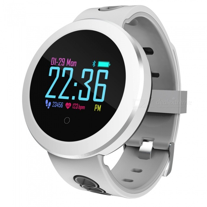 Q8 Pro Sports Color Screen Smart Bracelet IP68 Waterproof, Blood Pressure, Heart Rate Monitoring, Sleep Monitoring - WhiteSmart Bracelets<br>ColorWhiteModelQ8 PROQuantity1 piecesMaterialSilica gelWater-proofIP68Bluetooth VersionBluetooth V4.0Touch Screen TypeOthers,OLEDOperating SystemAndroid 4.4,iOSCompatible OSAndroid iOSBattery Capacity110 mAhBattery TypeLi-ion batteryStandby Time15 daysPacking List1 x Smart Bracelet1 x Power Adapter1 x User Manual<br>