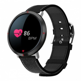 "IP67 Waterproof Bluetooth V4.1 Round Shaped 0.96"" Color Touch Screen Smart Bracelet - Black"