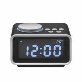 Multi-function FM Radio Alarm Clock Snooze Function Indoor Thermometer Dual USB Port Charger LCD Table Clock - Black (EU Plug)
