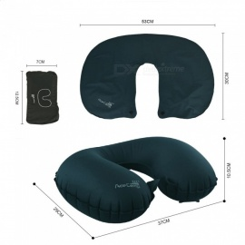 AceCamp U Shaped Soft Travel Pillow, Car Air Flight Inflatable Pillow, Neck Support Headrest Cushion - Dark Green