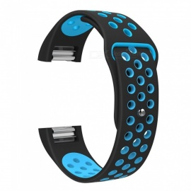 Miimall Soft Silicone Breathable Adjustable Replacement Watch Band with Air Holes  for Fitbit Charge 2 - Black + Blue