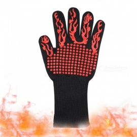 500 Degree Temperature Aramid Fiber Heat Insulation Heat-resistant Gloves - Black + Red