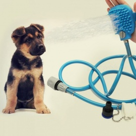 Pet Cat and Dog Shower Bath Sprinkler Handheld Massage Brush - Blue