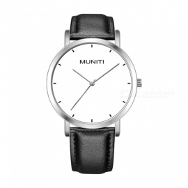 MUNITI MT1011G Women's Simple Style Quartz Watch 30m Waterproof PU Leather Strap - Black + Silver