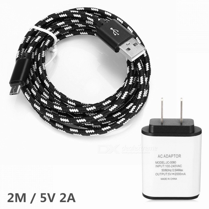 2M Weave Micro USB2.0 Date Line + 5V 2A USB Charger for Samsung / XiaoMi / HuaWei - US PlugCables<br>ColorBlack CablePower AdapterUS PlugModelN / AMaterialNylon + Aluminum / ABSQuantity1 setCompatible ModelsMicro USB interfaces phoneConnectorMicro USB / USB2.0Transmission Rate2.0Packing List1 x Cable1 x Charger<br>