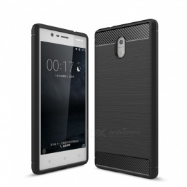 Dayspirit Wire Drawing Carbon Fiber TPU Back Case for Nokia 3 - Black