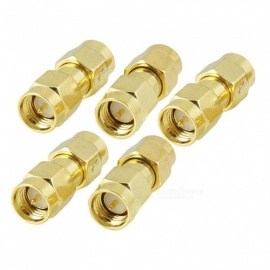 YENISEI Gold Plating SMA Male to SMA Male Plug RF Coaxial Adapter Connector (5 PCS)