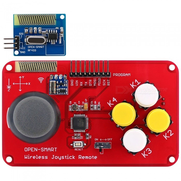 OPEN-SMART PS2 Joystick Keypad RF 433MHz Wireless Joystick Game Controller Module Kit for Smart Car / 4-axis AircraftTransmitters &amp; Receivers Module<br>ColorRedModelN/AQuantity1 setMaterialPCB + Alloy + PlasticFrequency433MHzWorking Voltage   3-5.3 VEnglish Manual / SpecYesDownload Link   http://drive.google.com/drive/folders/1rWCMuGcT56DOjpxewpASWwgTYQ5NL6bd?usp=sharingPacking List1 x Remote control1 x Receiver module<br>