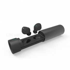 JEDX Mini Bluetooth Kopfhörer, TWS binaurale Zwillinge Stereo Wireless Headset mit Ladebox - schwarz
