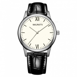 MUNITI MT1010L Women's Simple Style Quartz Watch 30m Waterproof PU Leather Strap - Black + White