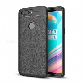 Dayspirit Lichee Pattern Protective TPU Back Cover Case for OnePlus 5T, 1+5T - Black