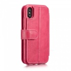 Measy Fashionable PU Leather Wallet Case for IPHONE X - Pink