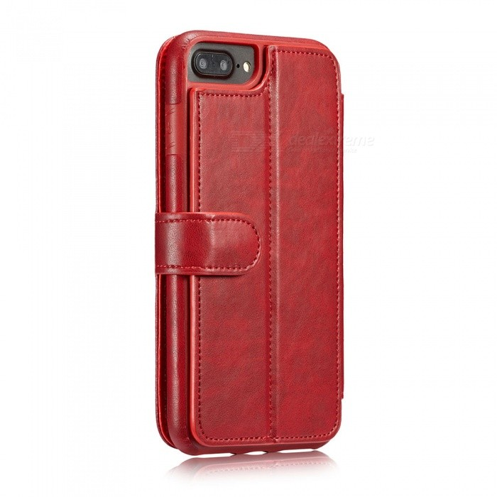 Measy Fashionable PU Leather Wallet Case for IPHONE 7/8 Plus - RedLeather Cases<br>Modeliphone 7/8 PlusColorRedQuantity1 pieceMaterialPUCompatible ModelsiPhone 7 PLUS,IPHONE 8 PLUSStyleFull Body Cases,Flip OpenDesignSolid Color,With Stand,Card SlotPacking List1 x Case<br>