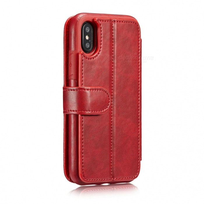 Measy Fashionable PU Leather Wallet Case for IPHONE X - RedLeather Cases<br>Modeliphone XColorRedQuantity1 pieceMaterialPUCompatible ModelsiPhone XStyleFull Body Cases,Flip OpenDesignSolid Color,With Stand,Card SlotPacking List1 x Case<br>