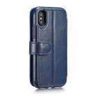 Measy Fashionable PU Leather Wallet Case for IPHONE X - Blue