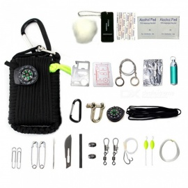 CTSmart 32969 Outdoor 22-in-1 EDC Camping Survival Tool Fishing Set with Compass, Mini Flashlight and More - Black