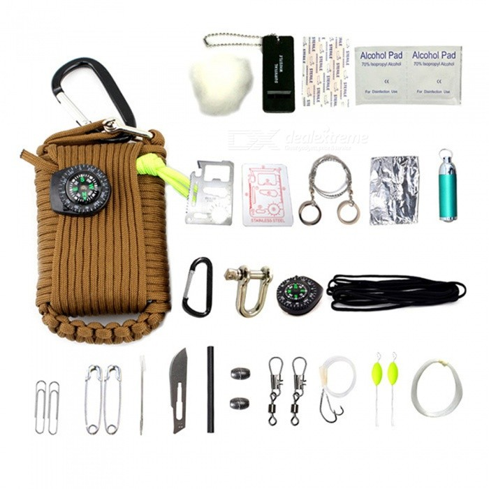 CTSmart 32969 Outdoor 22-in-1 EDC Camping Survival Tool Fishing Set with Compass, Mini Flashlight and More - BrownColorBrownModel32969Quantity1 setMaterialPolyesterPacking List1 x Survival Tool Kits1 x Manual<br>