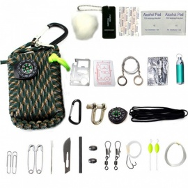 CTSmart 32969 Outdoor 22-in-1 EDC Camping Survival Tool Fishing Set with Compass, Mini Flashlight and More - Jungle Camouflage
