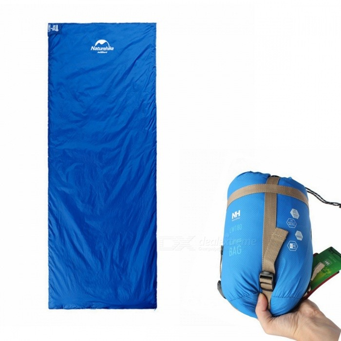 Naturehike Mini Ultralight Multifunctional Envelope Sleeping Bag 1.9x0.75m - BlueSleeping Bags<br>ColorBlueModelNH15S003-DQuantity1 pieceBest UseFamily &amp; car camping,Camping,TravelSeasonsOthers,spring summer AutumnMaterial20D 380T nylonSleeping Bag ShapeOthers,EnvelopeTemperature Rating 15 ?Limit Temperature Rating 8 ?Fill240T PongeeShell20D 380T nylonLiningImitation silkPacking List1 x Sleeping bag<br>