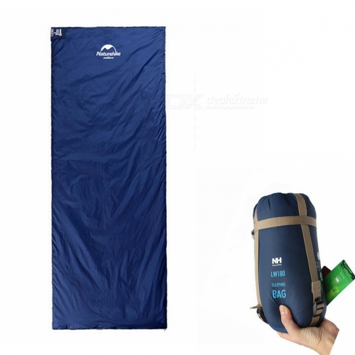Naturehike Mini Ultralight Multifunctional Envelope Sleeping Bag 1.9x0.75m - Deep BlueSleeping Bags<br>ColorDeep blueModelNH15S003-DQuantity1 pieceBest UseFamily &amp; car camping,Camping,TravelSeasonsOthers,spring summer AutumnMaterial20D 380T nylonSleeping Bag ShapeOthers,EnvelopeTemperature Rating 15 ?Limit Temperature Rating 8 ?Fill240T PongeeShell20D 380T nylonLiningImitation silkPacking List1 x Sleeping bag<br>