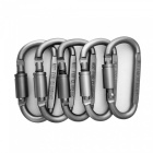 8# Outdoor Multi-Function Air Lock Buckle Flattened D-Type Aluminum Alloy Carabiner (5 PCS / Silvery Grey)