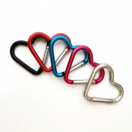 Outdoor Mini 5# Heart Shaped Button Aluminum Alloy Carabiner (5 PCS / Random Color)