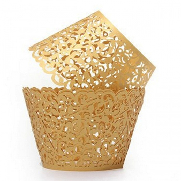10PCS Laser Hollowed-Out Floral Lace Cake Paper Cup Holders - Golden