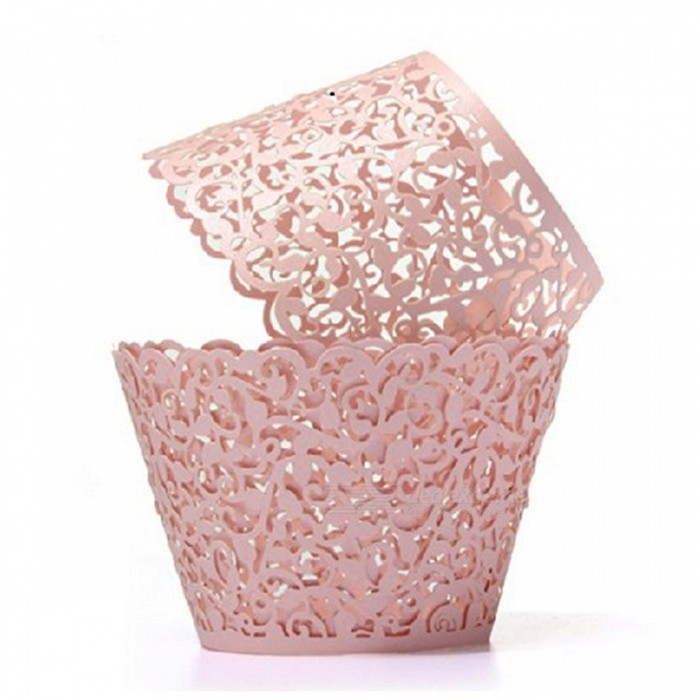 10PCS Laser Hollowed-Out Floral Lace Cake Paper Cup Holders - Pink