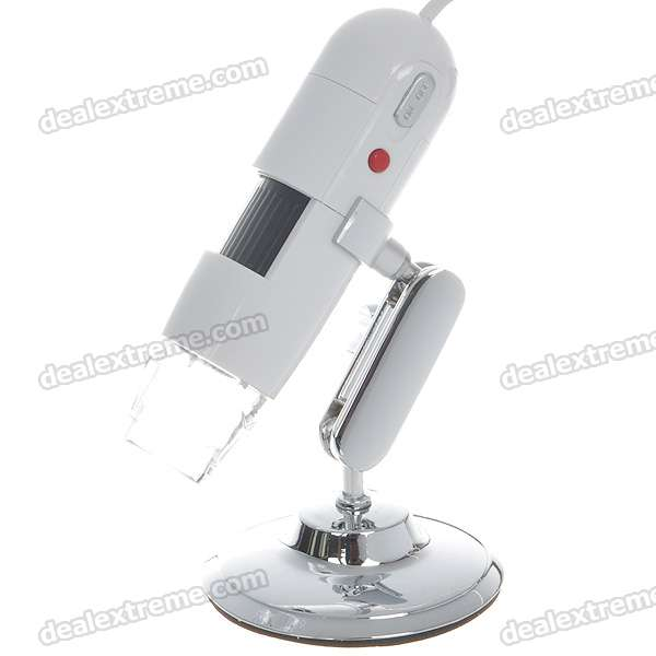 Portable USB Dual Axis 27X/100X 1.3MP Digital Microscope with 8-LED Illumination - White