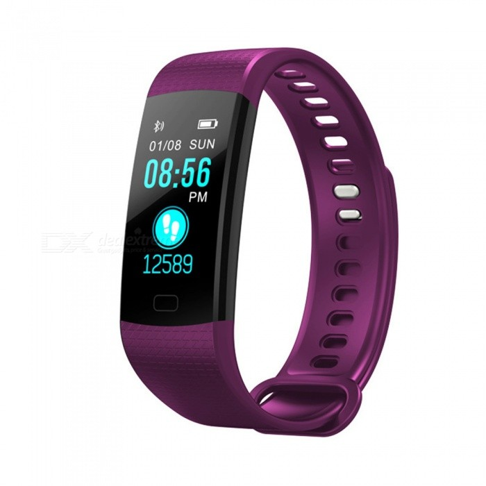 Y5 Color Screen Smart Bluetooth Bracelet with Heart Rate, Blood Pressure / Oxygen, Real-Time Monitoring - PurpleSmart Bracelets<br>ColorPurpleModelY5Quantity1 pieceMaterialTPUWater-proofIP67Bluetooth VersionBluetooth V4.0Touch Screen TypeTFTOperating SystemAndroid 4.4Compatible OSAndroid IOSBattery Capacity90 mAhBattery TypeLi-ion batteryStandby Time15 daysPacking List1 x User instruction1 x Smart bracelet1 x Packaging<br>