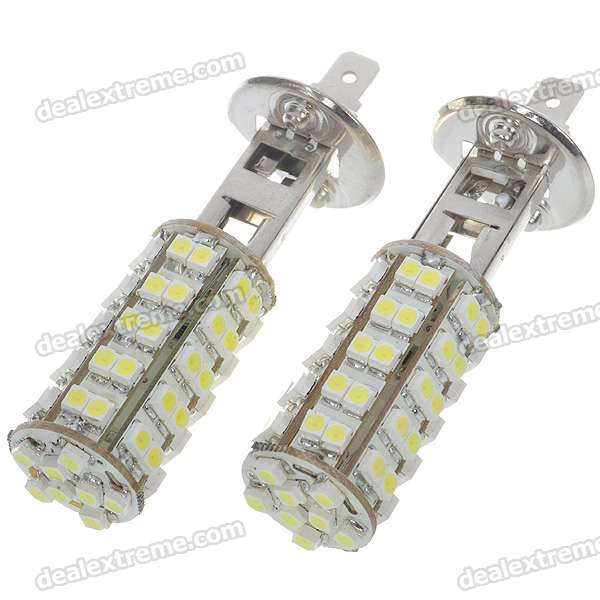 H1 3.5W 68-SMD LED 6500K 310-Lumen White Fog Lights for Car (Pair) h1 super bright white high power 10 smd 5630 auto led car fog signal turn light driving drl bulb lamp 12v