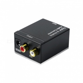 Digital Fiber Coaxial to R/L Stereo Audio Converter - Black