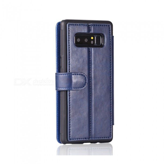Fashionable PU Leather Wallet Case for Samsung Galaxy Note 8 - Blue ...