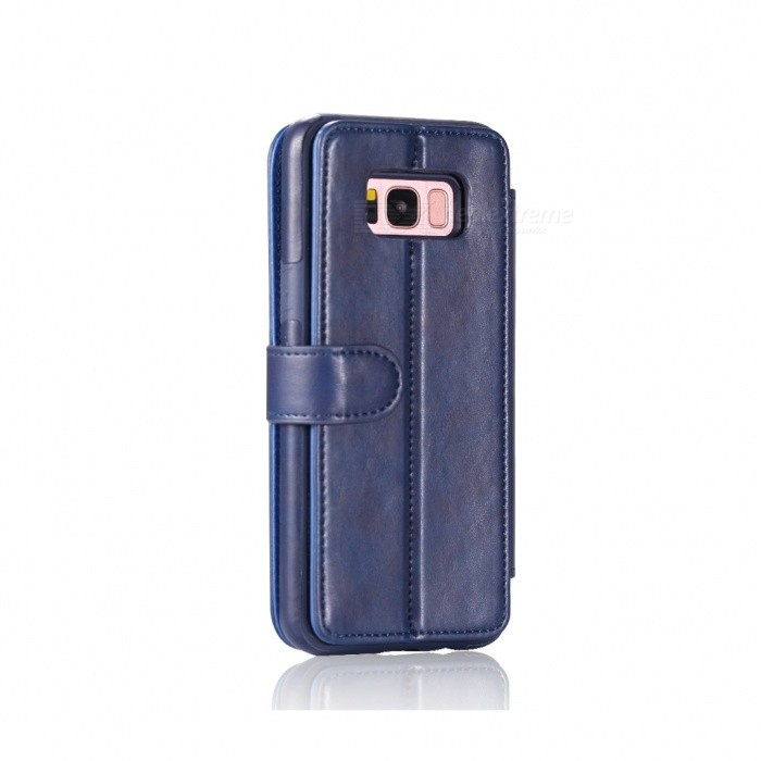 Fashionable PU Leather Wallet Case for Samsung Galaxy S8 - BlueLeather Cases<br>ColorBlueModelSamsung Galaxy S8ModelN/AMaterialPUQuantity1 setShade Of ColorBlueCompatible ModelsSamsung Galaxy S8FeaturesAnti-slip,Dust-proof,Shock-proof,Holder functionPacking List1 x Case<br>