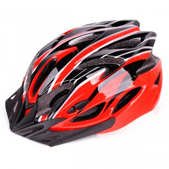 Outdoors Mountain Bike Integrated Molding Riding Cycling Helmet - Red + Black + Multicolor