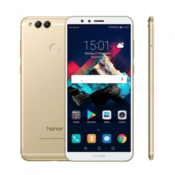 Huawei Honor 7X 4G 5.93 Mobile Phone w/ 4GB RAM, 64GB ROM - GoldenAndroid Phones<br>ColorGolden (4GB + 64GB)BrandHUAWEIModelHonor 7XQuantity1 pieceMaterialAluminum alloyForm  ColorGoldenTypeBrand NewPower AdapterUS PlugHousing Case MaterialAluminum alloyNetwork Type2G,3G,4GBand Details4G:FDD-LTE:B1/B3/B7/B8;TDD-LTE:B38/B39/B40/B41 3G:UMTS(WCDMA):B1/B5/B8; TD-SCDMA:B34/B39; CDMA; BC0(800MHz) 2G:GSM:900/1800/1900MHz ;CDMA:BC0(800MHz)Data TransferGPRS,HSDPA,EDGE,LTE,HSUPAWLAN Wi-Fi 802.11 a,b,g,nSIM Card TypeMicro SIM,Nano SIMSIM Card Quantity2Network StandbyDual Network StandbyGPSYesBluetooth VersionBluetooth V4.1Operating SystemOthers,Android 7.0CPU ProcessorKirin 659<br>1.7GHz-2.36GHzCPU Core QuantityOcta-CoreGPUMali T830-MP2LanguageEnglish, Simplified Chinese, Traditional Chinese, Dutch, Indonesian, Malay, Persian, Danish, German, Estonian, Spanish, French, Zulu, Italian, Swahili, Latvian, Lithuanian, Hungarian, Norwegian, Polish, Portuguese, Romansh, Slovak, Vietnamese, Turkish, Russian, Arabic, Korean, JapaneseRAM4GBROM64GBAvailable MemoryN/AMemory CardN/AMax. Expansion SupportedN/ASize Range5.5 inches &amp; OverTouch Screen TypeYesScreen ResolutionOthers,2160x1080Multitouch10Screen Size ( inches)Others,5.93Camera type3 x CamerasCamera PixelOthers,16.0MP + 2.0MPFront Camera Pixels8.0 MPVideo Recording Resolution1080p (1920?1080, 30 frames/second)FlashYesAuto FocusYesTouch FocusYesOther Camera Functions4x digital zoom, large aperture photo, streamer shutter (including carpool, light graffiti, silk, water, beautiful star track), beauty skin photo (charm), skin video, panoramic, HDR, watermark, sound photo, extinguish Screen snapshot, smile capture, voice-activated photo, time-lapse photo, touch photo, document correction, slow motion, auto focusTalk Time6-8 hoursStandby Time150-180 hoursBattery Capacity3340 mAhBattery ModeNon-removablefeaturesWi-Fi,GPS,Bluetooth,OTGSensorOthers,Gravity Sensor, Light Sensor, Distance Sensor, Fingerprint Identification, CompassWaterp