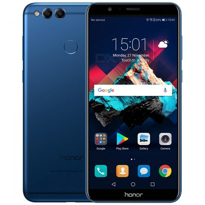 Huawei Honor 7X 4G 5.93 Mobile Phone w/ 4GB RAM, 128GB ROM - BlueAndroid Phones<br>ColorBlue - 4GB RAM + 128GB  ROMBrandHUAWEIModelHonor 7XQuantity1 pieceMaterialAluminum alloyForm  ColorBlueTypeBrand NewPower AdapterUS PlugHousing Case MaterialAluminum alloyNetwork Type2G,3G,4GBand Details4G:FDD-LTE:B1/B3/B7/B8;TDD-LTE:B38/B39/B40/B41 3G:UMTS(WCDMA):B1/B5/B8; TD-SCDMA:B34/B39; CDMA; BC0(800MHz) 2G:GSM:900/1800/1900MHz ;CDMA:BC0(800MHz)Data TransferGPRS,HSDPA,EDGE,LTE,HSUPAWLAN Wi-Fi 802.11 a,b,g,nSIM Card TypeMicro SIM,Nano SIMSIM Card Quantity2Network StandbyDual Network StandbyGPSYesBluetooth VersionBluetooth V4.1Operating SystemOthers,Android 7.0CPU ProcessorKirin 659<br>1.7GHz-2.4GHzCPU Core QuantityOcta-CoreGPUMali T830-MP2LanguageEnglish, Simplified Chinese, Traditional Chinese, Dutch, Indonesian, Malay, Persian, Danish, German, Estonian, Spanish, French, Zulu, Italian, Swahili, Latvian, Lithuanian, Hungarian, Norwegian, Polish, Portuguese, Romansh, Slovak, Vietnamese, Turkish, Russian, Arabic, Korean, JapaneseRAM4GBROM128GBAvailable MemoryN/AMemory CardN/AMax. Expansion SupportedN/ASize Range5.5 inches &amp; OverTouch Screen TypeYesScreen ResolutionOthers,2160x1080Multitouch10Screen Size ( inches)Others,5.93Camera type3 x CamerasCamera PixelOthers,16.0MP + 2.0MPFront Camera Pixels8.0 MPVideo Recording Resolution1080p (1920?1080, 30 frames/second)FlashYesAuto FocusYesTouch FocusYesOther Camera Functions4x digital zoom, large aperture photo, streamer shutter (including carpool, light graffiti, silk, water, beautiful star track), beauty skin photo (charm), skin video, panoramic, HDR, watermark, sound photo, extinguish Screen snapshot, smile capture, voice-activated photo, time-lapse photo, touch photo, document correction, slow motion, auto focusTalk Time6-8 hoursStandby Time150-180 hoursBattery Capacity3340 mAhBattery ModeNon-removablefeaturesWi-Fi,GPS,Bluetooth,OTGSensorOthers,Gravity Sensor, Light Sensor, Distance Sensor, Fingerprint Identification, CompassWaterproof LevelIPX0 (Not Protected)Dust-proof LevelN/AShock-proofNoI/O Interface3.5mm,Micro USB v2.0SoftwareVoice Assistant, Scene Intelligence, One-handed Keyboard, Magazine Lock Screen, Find My Phone, Student Mode, Multi-screen Interaction, Sports HealthFormat SupportedMIDI/MP3/AAC/3GP/MP4/JPEG/Huawei Histen Audio Processing TechnologyTV TunerNoReference Websites== Will this mobile phone work with a certain mobile carrier of yours? ==Packing List1 x Cell phone1 x User manual1 x Data cable (100±2cm) 1 x US Plug Power adapter(100-240V)<br>