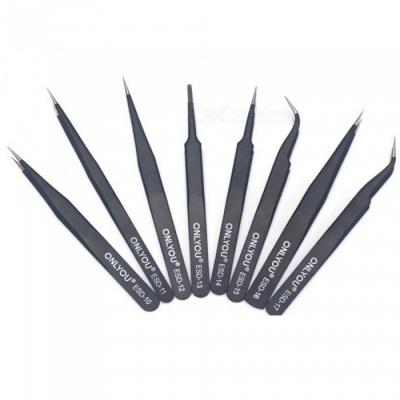 8PCS Antistatic Stainless Steel Hard Precision Tweezers ESD- 10 11 12 13 14 15 16 17