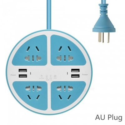 2500W Circle 5-Hole Charger Socket / Power Strip with 4 USB Ports for Household Appliance, Phone, Tablet - Blue (AU Plug)